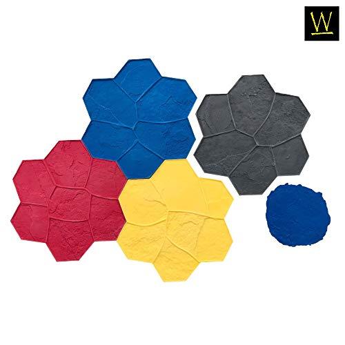 Original Random Stone Concrete Stamp Set by Walttools | Decorative Rock Tile Pattern, Sturdy Polyurethane Texturing Mats, Realistic Detail (5 Piece)