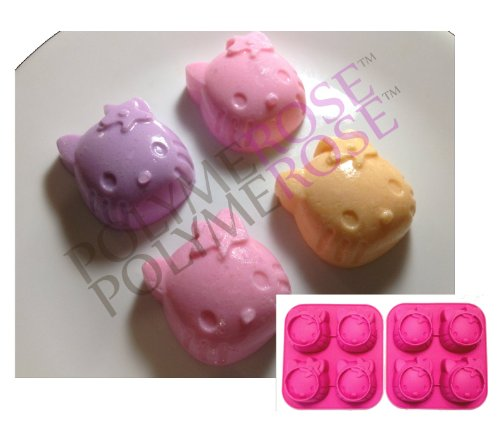 SET OF TWO HELLO KITTY Molds Pans for Candy, Desserts, Soaps and Crafts. (4 Cavity Each; 8 Cavity Total) Silicone by POLYMEROSE T.M.