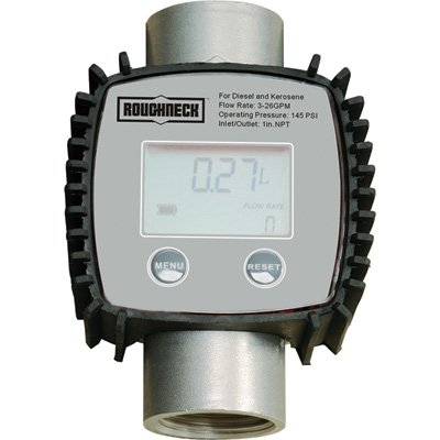 Roughneck 1in. Turbine Digital Meter with 3/4in. Adapters - 3-26 GPM Flow Rate