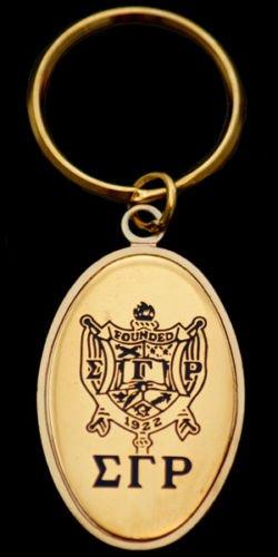 (Brass Sigma Gamma Rho Oval Medallion Keychain)