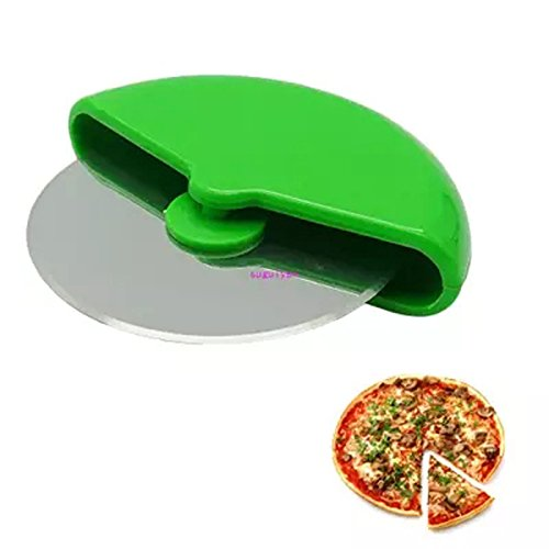 Wuudi Pizza Cutter Wheel Slicer Cutter Stainless Steel Blade Green Plastic Kitchen Toll with Handle