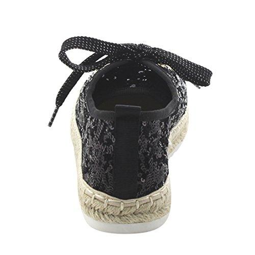 Bonnibel Fj64 Womens Gnistor Glitter Espadriller Snörning Sneakers Svart