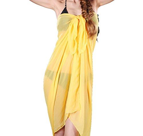 UK_Stone Damen Übergroesse Unifarbe Sarong Pareo Strandtuch Wickeltuch Bikini Sonnenschutz Decke Cover-up Gelb