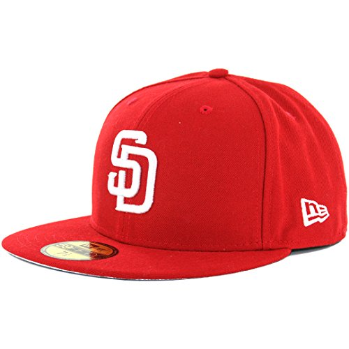 - New Era 59Fifty San Diego Padres SC WH Fitted Hat (Scarlet) Men's MLB Cap