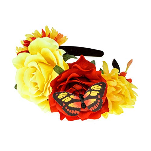 Floral Fall Day of The Dead Flower Crown Festival Headband Rose Mexican Floral Headpiece HC-23 (Yellow with Butterfly) -