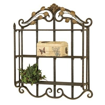 Metal Wall Shelf (Oil Rubbed Bronze / Dusted Gold) (28''H x 23''W x 5''D) by Passport Furniture