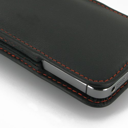 Apple iPhone 5s Leather Case / Cover (Handmade Genuine Leather) - Vertical Pouch Type (WITH Belt Clip) (Black/Red Stitchings) by Pdair