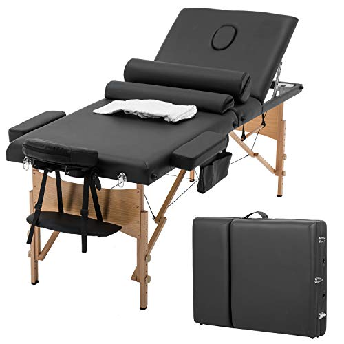Massage Bed Spa Bed Massage Table Salon Tattoo Bed Heigh Adjustable 3 Fold 84″ Massage Table W/Sheet Cradle Cover 2 Bolster Hanger Portable Facial