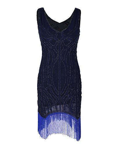 [Zhihui Women's 1920s Vintage Gatsby Beads Fringe Hem Flapper Dress M Navy] (Dresses From The 1920s)