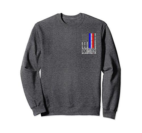 Emt Clothing (Unisex 2-Sided Fireman Police EMT / First Responder Flag Sweatshirt Medium Dark Heather)