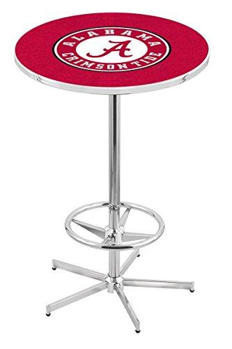 "Holland Bar Stool L216C University Of Alabama (Script""A"") Logo Officially Licensed Pub Table, 28"" x 42"", Chrome"