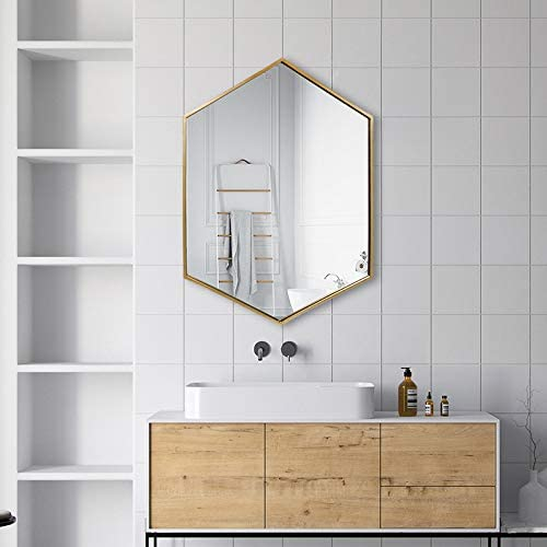 Amazon Com Tmgy Gold Hexagon Mirror Wall Mounted 27 5 X19 6 Large Gold Mirrors For Wall Decor Ornate Mirror Modern Vanity Mirror For Living Room Bathroom Bedroom Big Metal Frame Wall Mirror Antique Mirror Furniture Decor,Longhorn Parmesan Crusted Chicken Nutrition Facts