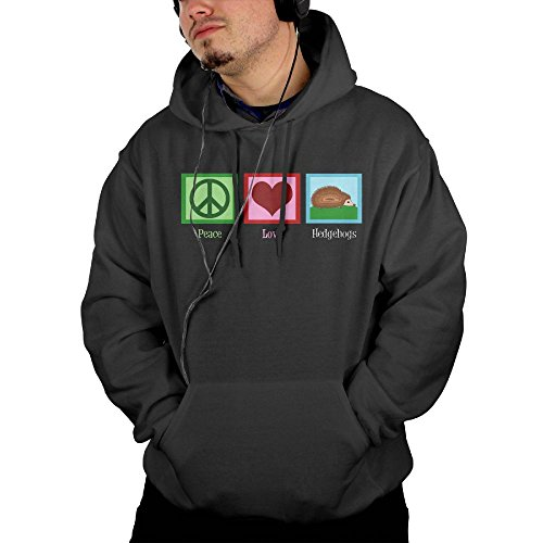 Obachi Peace Love Hedgehogs Men's Cotton Long Sleeve Pullover Pocket Hooded Sweatshirt Black Size M