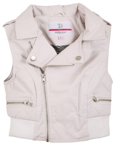 Dollhouse Junior'S Leather Look Quilted Sides Vest With Ribbed Trim - Bright White (Medium)