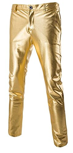 Metallic Linen Pants - Papijam Mens Mid Waist Fashion Metallic Shiny Solid Straight-Leg Pants Golden Large