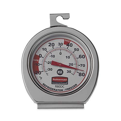 Termómetro para congelador /frigorífico comercial de acero inoxidable Rubbermaid, para uso en cocina (FGR80DC)