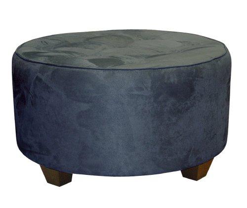 Clybourn Round Tufted Cocktail Ottoman by Skyline Furniture in Lazuli Blue Micro-suede (Ottoman Storage Round Suede)