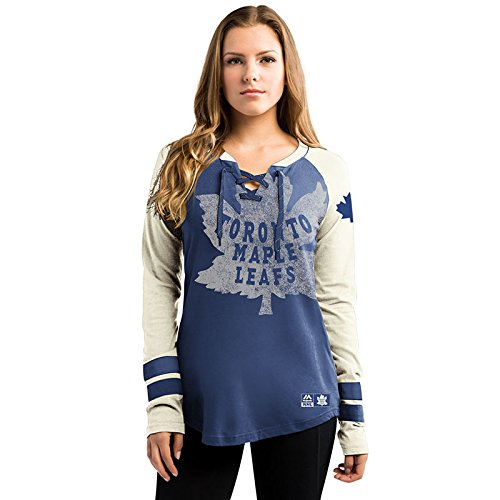Toronto Maple Leafs Women's NHL Majestic Vintage Hip Check Lace Up V-Neck (Majestic Oversized T-shirt)