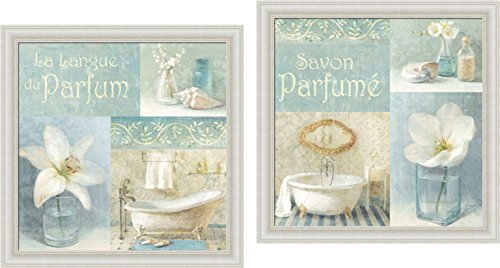 Framed Poppy Print Set - Buyartforless IF WAP 5123-4 1.25 Wwash Glass Framed Set Parfum I and Ii by Danhui NAI 12X12 Wall Art Print Poster Blue Bath Bathroom Coastal Shells White Poppy &