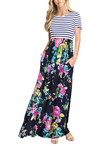 MEROKEETY Women's Striped Short Sleeve Floral Print Summer High Waist Pockets Maxi Dress -