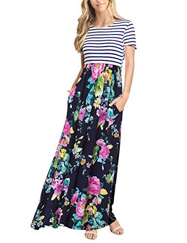 - MEROKEETY Women's Striped Short Sleeve Floral Print Summer High Waist Pockets Maxi Dress