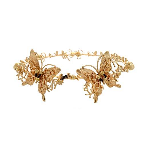 - Wiipu Retro Baroque golden butterfly tiara handmade bride headdress hairband(A1179)