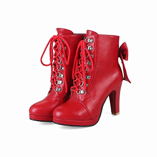 Carolbar Womens Bows Lace Up Sexy Fashion High Heel Short Boots Red lNUkY
