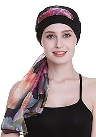 Elegant Chemo Cap with Silky Scarfs for Cancer Women Hair Loss Sleep Beanie - Black - One Size Fits Most