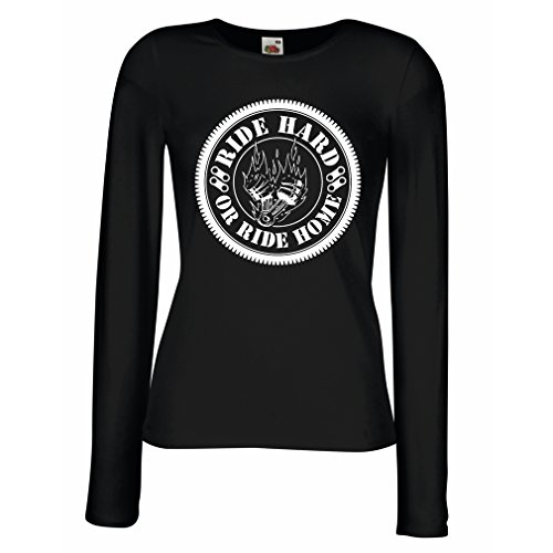 N4688M Female long sleeves T-shirt Ride Hard! Biker clothing (Medium Black Multi Color)