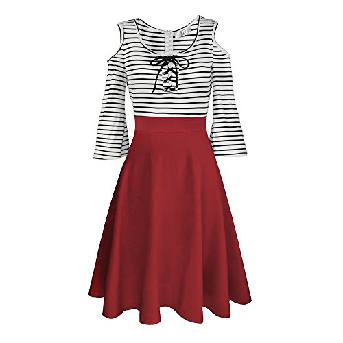 Dreaweet Vintage Women's Stripes Patchwork A-line 3/4 Flare Sleeve Cocktail Dress