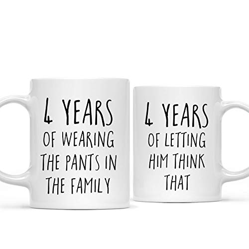 Andaz Press Funny 4th Wedding Anniversary 11oz. Couples Coffee Mug Gag Gift, 4 Years of Wearing The Pants in The Family, Letting Him Think That, 2-Pack with Gift Box for Husband Wife Parents (4 Year Anniversary Gift Ideas For Boyfriend)