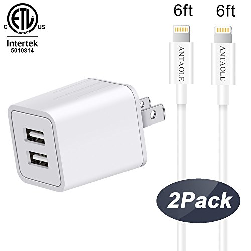 iPhone Charger, ANTAOLE Lightning Cable 2 PACK 6Feet Extra Long Durable USB Data Sync Charging Cord with Dual Port Wall Charger for iPhone X/8/7/6S/6/Plus/5S/5C/SE/5/iPad Mini/iPod