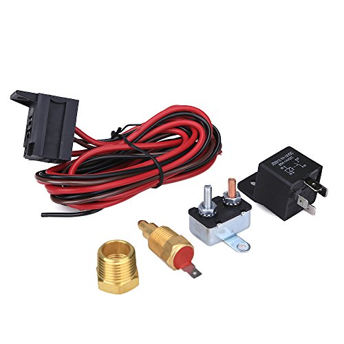 CISNO 175 - 185 Degree Electric Cooling Fan Thermostat Relay Switch Kit Temp Sensor Temperature Switch 40 amp