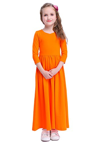 Happy Rose Girls Floral Maxi Three-Quarter Sleeves Holiday Long Dress Size Girls' Fit and Flare Maxi Dress Orange Size 10]()
