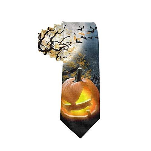Mens & Boys Halloween Necktie - Regular Slim Happy Halloween Pumpkin Neckties For Suit Business College, Wedding Party Festival Smooth Polyester Ties