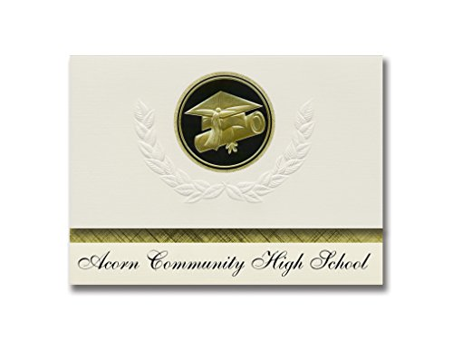 Signature Announcements Acorn Community High School (Brooklyn, NY) Graduation Announcements, Presidential style, Elite package of 25 Cap & Diploma Seal Black & Gold ()