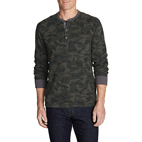 Eddie Bauer Men's Eddie's Favorite Thermal Henley - Printed, Carbon Tall M