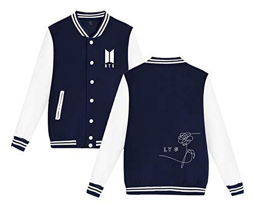 Maglietta Love Blue Popolare Invernale Elekikil Cappotto Lunga Moda Baseball Donne Bts Manica Autunno Yourself Outwear Uomini Da Sweatshirt Giacca Per E Casual 1F5ZxFwq6