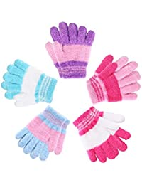 5 Pairs Kids Gloves Full Fingers Gloves Knitted Warm Gloves Winter Mittens for Little Boys and Girls Daily Supplies (Color Set 1, 3-6 Years Size)