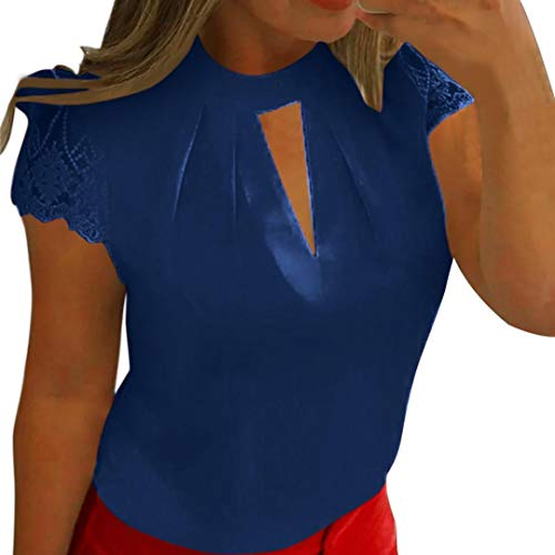CUCUHAM Fashion Womens Casual Chiffon Short Sleeve Splice Lace Crop Top Blouse(Deep Blue,US:16/CN:4XL) ()