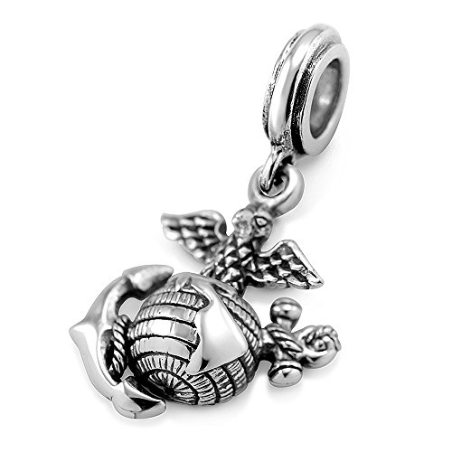 925 Sterling Silver 3D Eagle Globe & Anchor - USMC Marine Corps Bead Charm Fits Major Brand (Usmc Globe And Anchor)