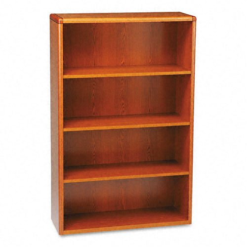HON 10700 Series Bookcase, 4 Shelves, 36 W by 13-1/8 D by 57-1/8 H, Henna Cherry