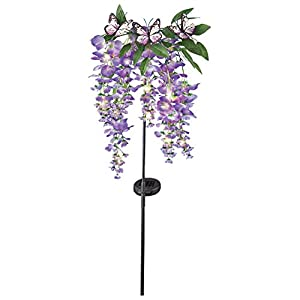 Wisteria Floral Butterfly Solar Lighted Outdoor Yard Stake, Purple