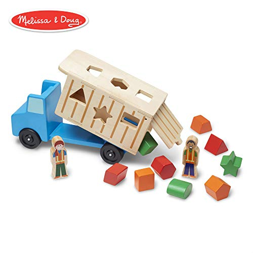 Melissa & Doug Shape-Sorting Wooden Dump Truck Toy (Quality Craftsmanship, 9 Colorful Shapes and 2 Play Figures)]()