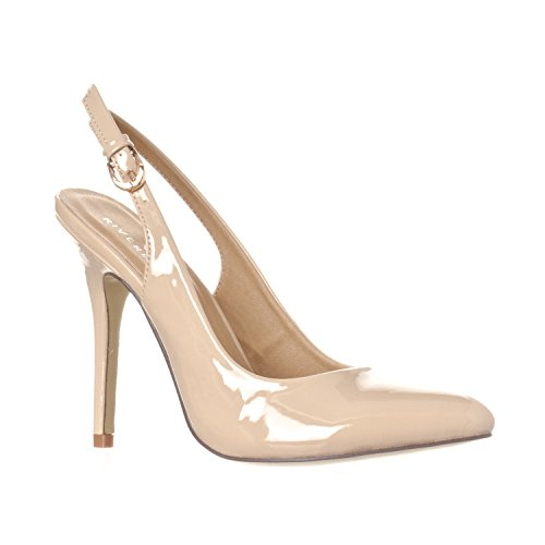 Riverberry Women's Lucy Pointed-Toe, Sling Back Pump Stiletto Heels, Nude Patent, 9
