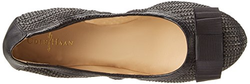 Cole Haan Mujeres Manhattan Bow-front Ballet Flat Negro Rafia