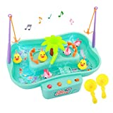 Zooawa Fishing Game Toy Set, Music Water Table Floating Fish and Ducks with Swirl Water Pond and Fishing Pole Water Play Set for Toddlers and Kids, Mint Green