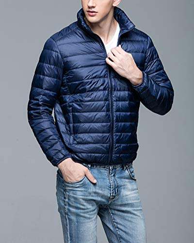 Outwear Short Suncaya Warm Down Jacket Packable Stand Lightweight Collar Jacket Down Men's Navy qHAwqpP