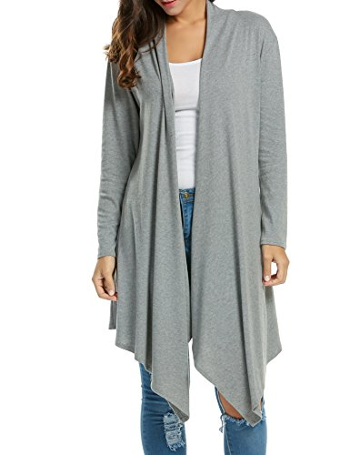 Zeagoo Women Long Sleeve Draped Open Front Fall Cardigan Sweater,Gray,Small