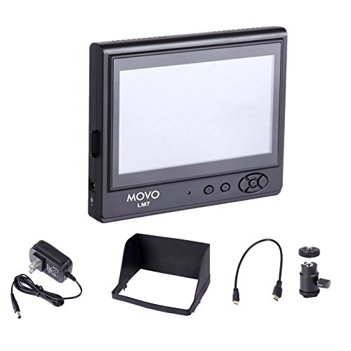 """Movo Photo LVM-7 7"""" LCD On-Camera Field Video Monitor with S"""